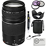 Canon EF 75-300mm f/4-5.6 III Lens + UV Filter + 3 Piece filter Set + Lens Pouch + Lenshood + Lens Cap Keeper