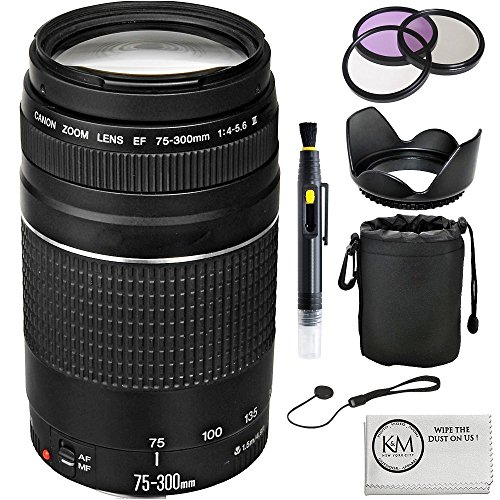 Canon EF 75-300mm f/4-5.6 III Lens + UV Filter + 3 Piece filter Set + Lens Pouch + Lenshood + Lens Cap Keeper by Canon