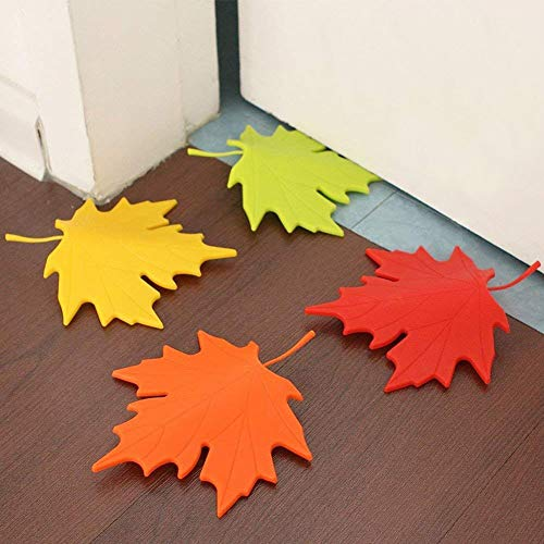 T&B 4Pcs Maple Leaf Door Stop Plastic Stopper for Baby Children Safety Finger Protection Home Decorative Accessories