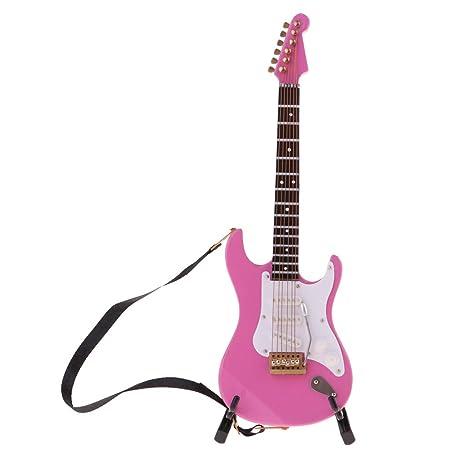 P Prettyia Modelo Réplica Mini Guitarra Eléctrica de 6 Cuerdas Adornos para Casa de Muñecas Escala