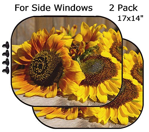 MSD Car Sun Shade - Side Window Sunshade Universal Fit 2 Pack - Block Sun Glare, UV and Heat for Baby and Pet - Image ID 32455065 Beautiful Sunflowers on Wooden Bench Outdoors
