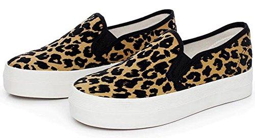 - Summerwhisper Women's Trendy Leopard Elastic Low Top Canvas Loafers Platform Skate Sneakers Brown 8 B(M) US