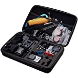 TEKCAM Carrying Case Protective Bag with Water Resistant EVA for Gopro Hero 6/DBPOWER/AKASO/APEMAN/Campark/SOOCOO/Crosstour/TEKCAM 7000s Waterproof Action camera Travel Home Storage (Large)