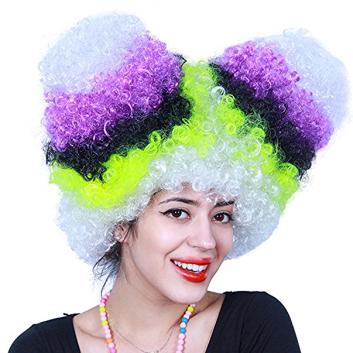 For Adults Halloween Costumes Cosplay Rainbow Wigs Deluxe Big Top Party (Multicolored) (Deluxe Clown Wig)
