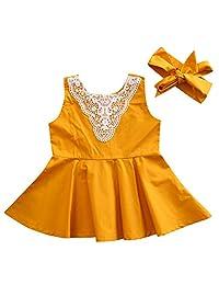 Baby Girl Lace Front Sleeveless Sundress Princess Dress Daily Dress+Headband