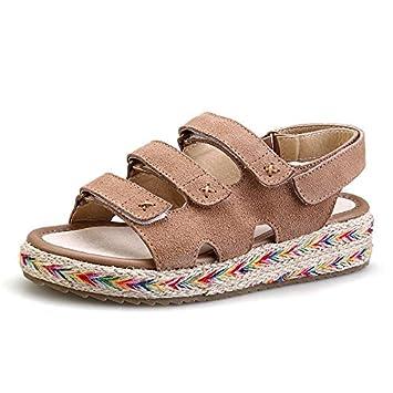 Angrousobiu Sandalias de verano estudiantil femenina Wild Flat-Bottomed Bizcocho de cuero grueso Playa Zapatos
