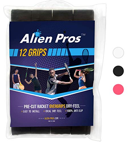 Alien Pros Tennis Grip Tape for Rackets  (12 Grips) Precut and Dry Feel Overgrip  Replacement for Old Overwraps  Wrap Your Racquet for High Performance (12 Grips, Black)