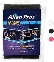 Alien Pros Tennis Racket Grip Tape (6/12/60 Grip) - Precut and Dry Feel Tennis Grip - Tennis Overgrip Grip Tap
