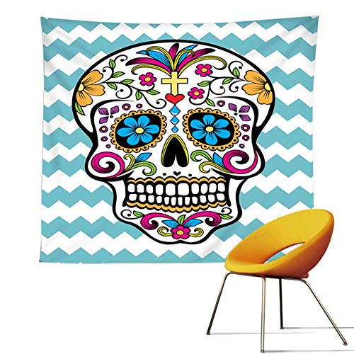 POPPAP Wall Tapestry, Halloween Festive Ornaments Hippe Spooky Skeleton Skull Digital Print Mandala Wall Decor Tapestry White Background Colorful Candy Skull Design Hanging Blancket 59