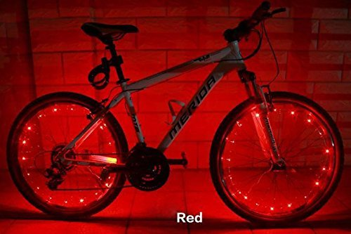 Soondar® 2 Pack Uprated USB Powered Rechargeable Water Resistant Cool 20 LED Bicycle Bike Cycling Wheel Light Safety Light Spoke Light Lamp Lightweight Accessory Red Blue White Green Pink Multicolor