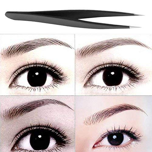 Gowind7 Eyebrow Tweezers,Professional Acuate Eyebrow Tweezers Stainless Steel Eyebrow Shaping(Black)