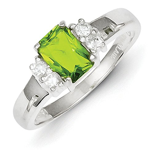 Sterling Silver Lime Green and White Cubic Zirconia Ring - Size 8 Lime Green Cubic Zirconia Ring
