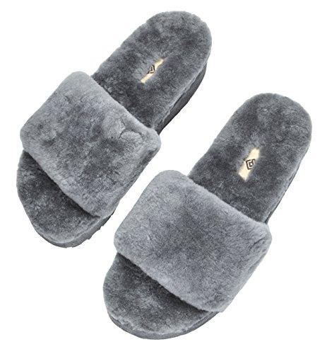 Droom Paren Dames Bliz Schapenvacht Bont Muilezels Pluizige Comfortabele Pantoffels Grijs-01
