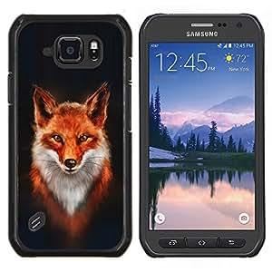 Caucho caso de Shell duro de la cubierta de accesorios de protección BY RAYDREAMMM - Samsung Galaxy S6Active Active G890A - Fox Blanco Naranja Rojo Arte Pintura Retrato