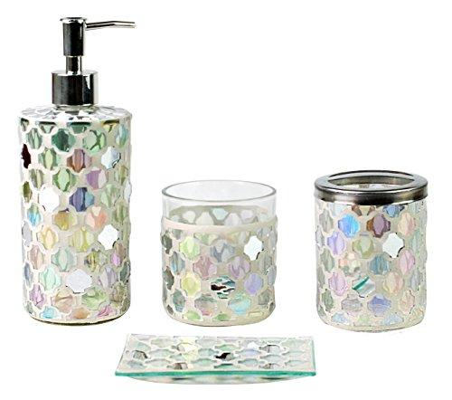 SkyMoving Luxury Bathroom Accessories set, 4-Piece Mosaic Gl