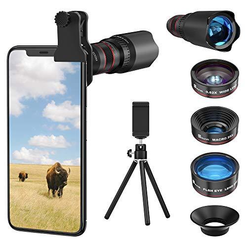 Selvim Phone Camera Lens Phone Lens Kit 4 in 1, 22X Telephoto Lens, 235° Fisheye Lens, 0.62X Wide Angle Lens, 25X Macro…
