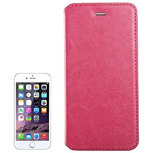 Crazy Horse Texture Horizontal Flip Solid Color Leather Case for iPhone 6 & 6s (Magenta)
