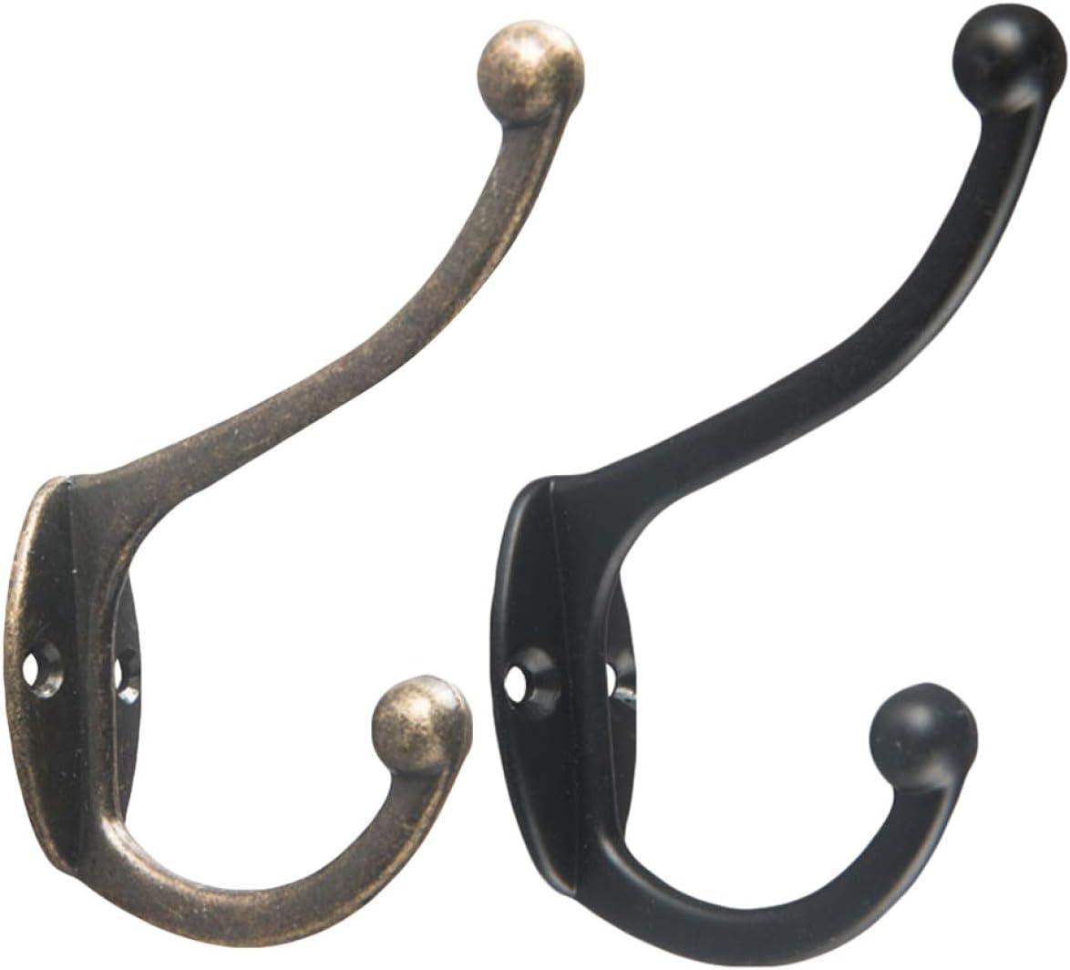 Classic Antique Vintage Hooks Cast Iron Double Coat Hook Home Key Hanger Holder