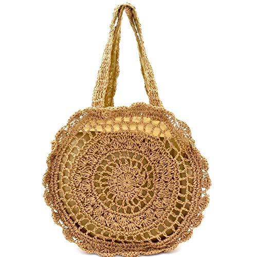 Knitted Straw Round Tote Hobo Bali Handbag