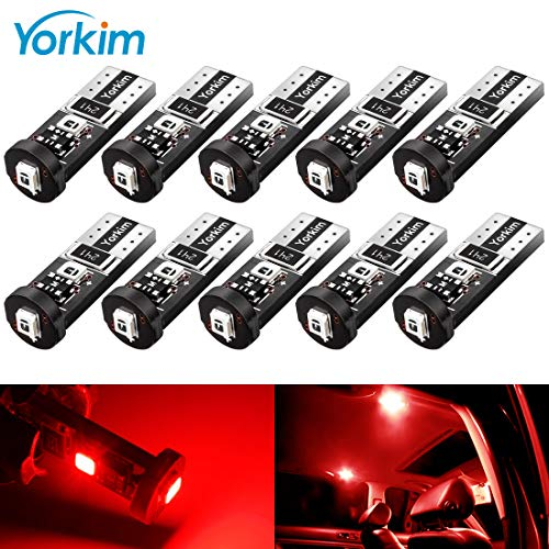 Yorkim 194 Led Bulb Red Canbus Error Free 3-SMD 2835 Chipsets, T10 Red Interior Led For Car Dome Map Door Courtesy License Plate Trunk lights with 194 168 W5W 2825 Sockets Pack of 10, Red