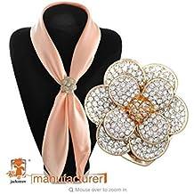 Estony Luxury Flower Scarf Buckle Brooch Clips Pin For Women