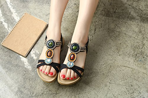 Summer for Women Flat Ruiren Bohemian Ladies Shoes Beeded Black Sandals xwa66qHn1I