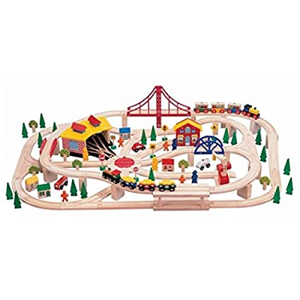 Buy Mentari Wooden Train Set 130 Pieces Learn And Play