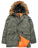 Alpha Industries Men's N-3B Slim-Fit Parka Sage/Org