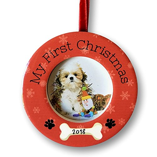 """Puppy Dog Ornament - Puppy's First Christmas – Dated 2018 Ornament with Easel Back – Dog Bone and Paw Print Design – 2"""" Picture Opening"""