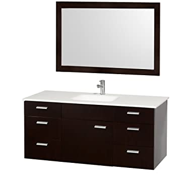 Attractive Wyndham Collection Encore 52 Inch Single Bathroom Vanity In Espresso With  White Man Made Stone