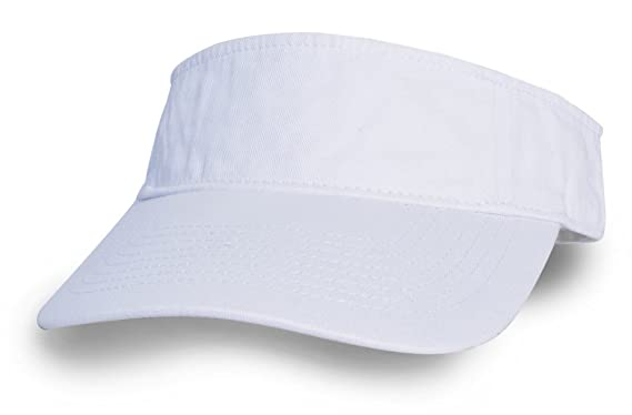 4050ebcccf0 KC Caps Unisex Washed Cotton Twill Solid Sports Sun Visor Hat White ...