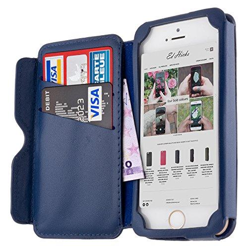 Schutzhülle Case + Tasche Echtes Leder Slim Hülle Brieftasche für das iPhone SE 5 5S - Risevon Ed Hicks - Geprägt Königsblau