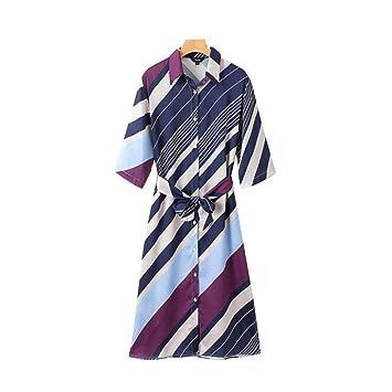 DAIDAILYQ Camisa A Rayas Retro Vestido Corbata De Lazo Fajas Lado ...