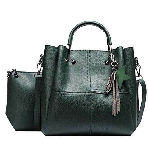 Sale Clearance Women Handbag Halijack Ladies Zipper 2 Pcs Shoulder Bag Lightweight Classic Modern Tote Shoulder PU Leather Bag Casual Messenger Bags Top-Hanle Crossbody Bags Green