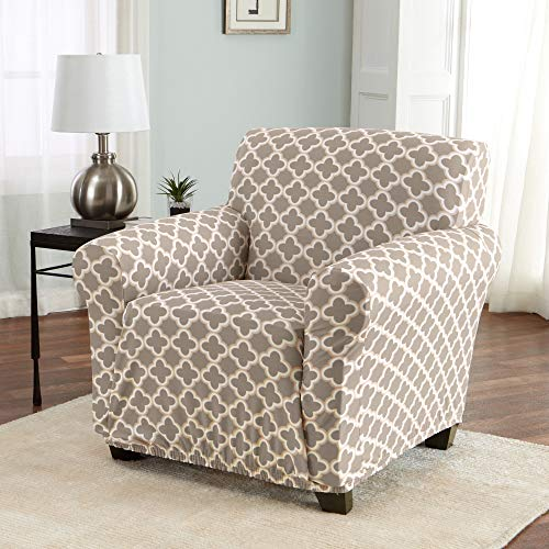 Home Fashion Designs Printed Twill Arm Chair Slipcover. One Piece Stretch Chair Cover. Strapless Arm Chair Cover for Living Room. Brenna Collection Slipcover. (Chair, Beige) (Slipcovers For Living Room Chairs)