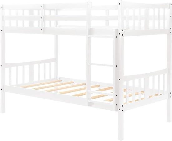 Burnell Wilcox Marco de la Cama Bedroome for niños Twin sobre Twin Bunk Bed Cama Doble de Madera con Escalera: Amazon.es: Hogar