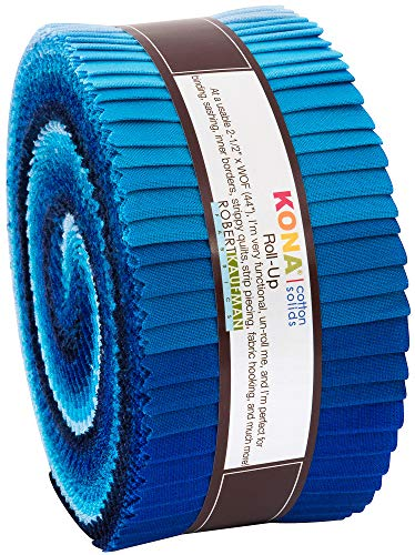 Kona Cotton Solids Waterfall Roll Up 40 2.5-inch Strips Jelly Roll Robert Kaufman Fabrics RU-782-40