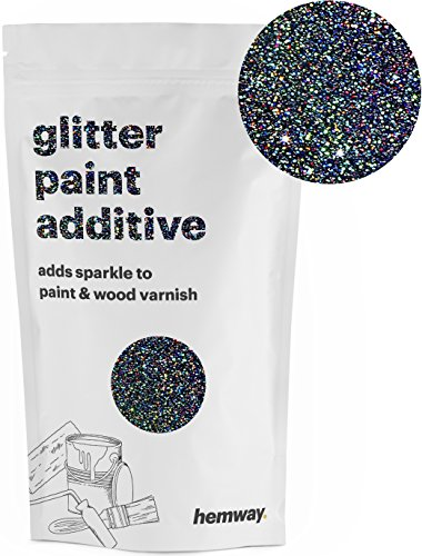 Hemway (Black Holographic) Glitter Paint Additive Crystals 100g/3.5oz for Acrylic Latex Emulsion Paint - Interior Exterior Wall, Ceiling, Wood, Varnish, Dead flat, Matte, Gloss, Satin, ()