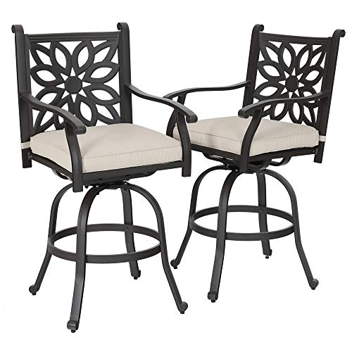 (PHI VILLA Cast Aluminum Extra Wide Patio Height Swivel Bar Stools Armrest Chairs Set of 2 - Design for DIY)