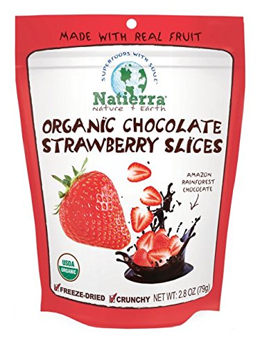 Natierra Nature's All Foods Organic Freeze-Dried and Crunchy, Chocolate Covered Strawberry Slices Flavor, 2.8 Oz