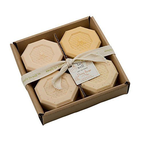 Simply Be Well Organics (Plant Based) Set of Four Honey Bar Soap Set - Gift Box Individual Soaps - Honey, Honey Aloe, Honey Oatmeal & Honey Almond 4 OZ each