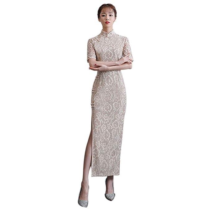 2a38ad90c507 Hzjundasi Cheongsam Lungo in Pizzo da Donna - Qipao Manica Corta Elegante  Abito da Sposa Cinese Slim Vestito  Amazon.it  Abbigliamento