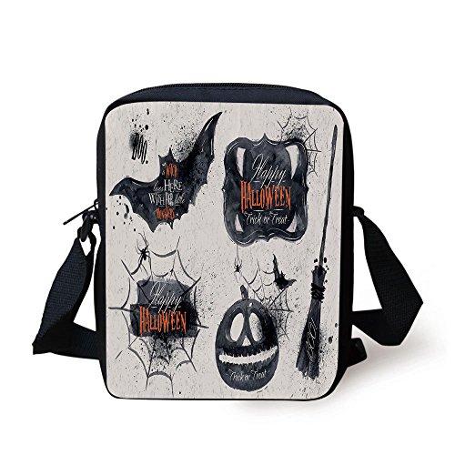 (IPrint Vintage Halloween,Halloween Symbols Happy Holiday Witch Lives Here Broomstick Spider Web Decorative,Black White Print Kids Crossbody Messenger Bag Purse)