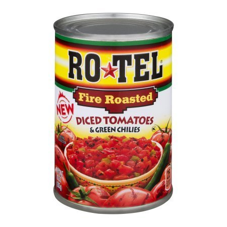 - RoTel Fire Roasted Diced Tomatoes & Green Chilies, 10 oz (pack of 6)