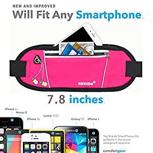 AIKELIDA Running Belt / Fanny Pack / Fitness Belt / Waist Pack for iPhone, Samsung Edge / Note / Galaxy - Men, Women during Sports Fitness, Running, Cycling, Hiking, Travel, Workout - Pink