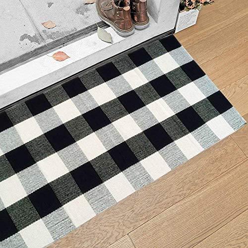 Yellow Checkered Rug: USTIDE 100% Cotton Plaid Rugs Black/White Checkered Plaid