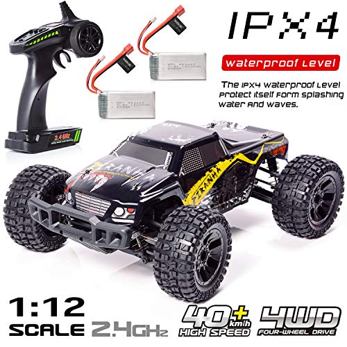 EXERCISE N PLAY Remote Control Trucks 1:12 Ready-to-Run Electric 4X4 Off Road Pick-Up Truck 2.4GHZ Controller 25MPH R/C RTR Moster Truck, Electric Cars, Racing Trucks, with 2 Rechargeable Batteries