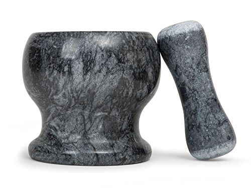 Sage Premium Solid Marble Mortar & Pestle Set - Heavy Duty Solid Stone - 6.5