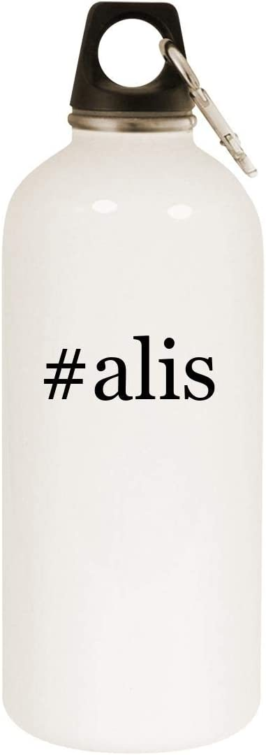 #alis - 20oz Hashtag Stainless Steel White Water Bottle with Carabiner, White