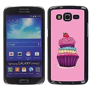 TECHCASE**Cubierta de la caja de protección la piel dura para el ** Samsung Galaxy Grand 2 SM-G7102 SM-G7105 ** Cupcake Sweets Sugar Drawing Vintage Berry